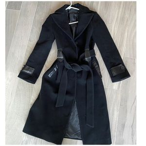 Mackage wool trench coat with leather trim